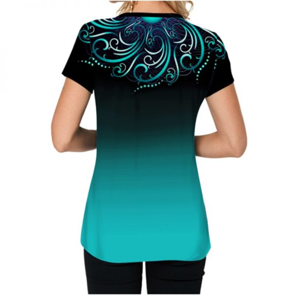 Gradient T Shirts for Women 2020 Summer Casual Tunic Blouse Tops Plus Size O Neck Short Sleeve Shirts S-5XL